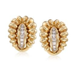 C. 1980 Vintage .60 ct. t.w. Diamond Ribbed Earrings in 18kt Yellow Gold, , default
