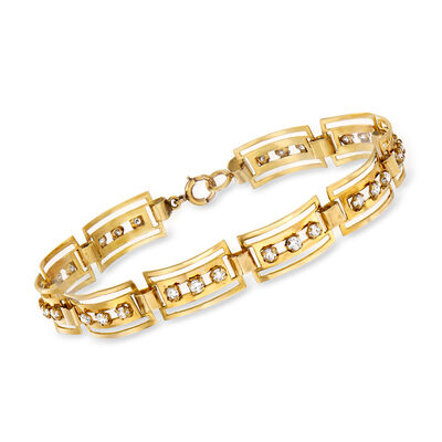 C. 1940 Vintage 1.30 ct. t.w. Diamond Bar-Link Bracelet in 14kt Yellow Gold, , default