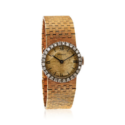 C. 1970 Vintage Women's 22mm Manual 18kt Yellow Gold Watch with .80 ct. t.w. Diamonds, , default
