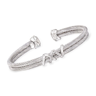 "Phillip Gavriel ""Italian Cable"" Cuff Bracelet with Diamond Accents in Sterling Silver"