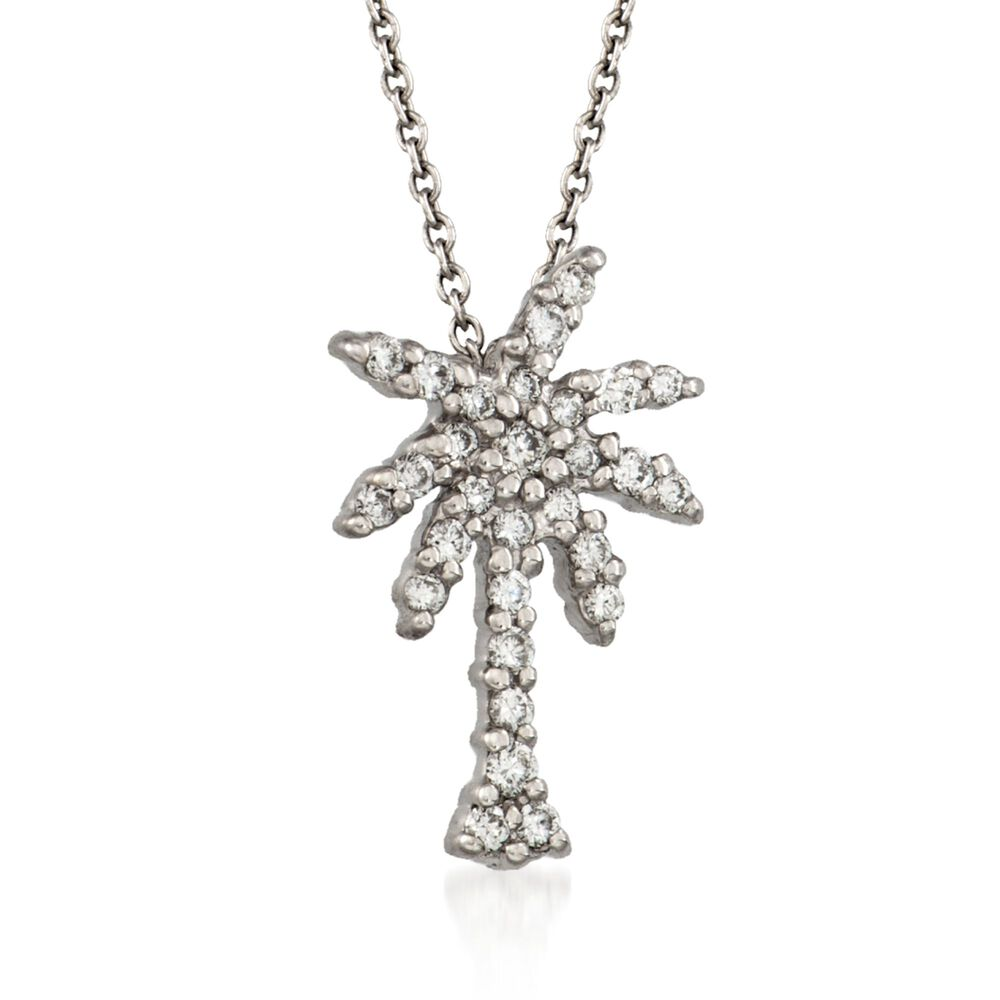20ae27984ca5d Roberto Coin Tiny Treasures .17 Carat Total Weight Diamond Palm Tree  Necklace in 18-Karat White Gold