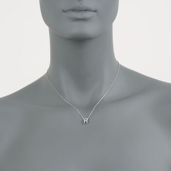 "Roberto Coin Tiny Treasures Diamond R  Necklace in 18-Karat White Gold. 16"", , default"