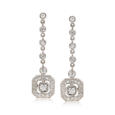 C. 1980 Vintage 1.20 ct. t.w. Diamond Drop Earrings in 18kt White Gold, , default