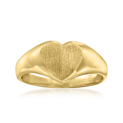 C. 1970 Vintage 14kt Yellow Gold Heart Signet Ring