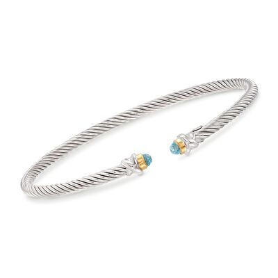 "Phillip Gavriel ""Italian Cable"" .30 ct. t.w. Blue Topaz Cuff Bracelet in Sterling Silver and 18kt Gold, , default"