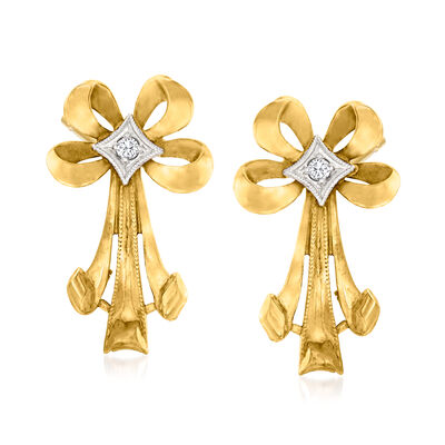 C. 1930 Vintage 10kt Yellow Gold Bow Drop Earrings with Diamond Accents