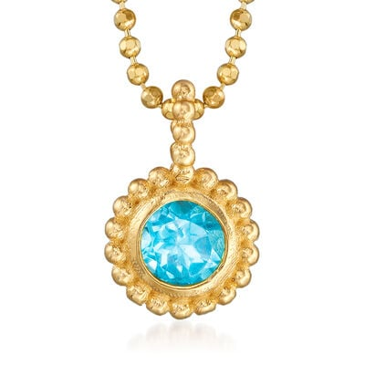 "Phillip Gavriel ""Popcorn"" .30 Carat Blue Topaz Beaded Necklace in 14kt Yellow Gold, , default"