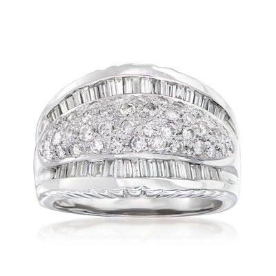 C. 1980 Vintage 1.40 ct. t.w. Diamond Ring in 18kt White Gold