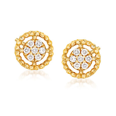 Gabriel Designs .10 ct. t.w. Diamond Cluster with Beaded Frame Stud Earrings in 14kt Yellow Gold, , default