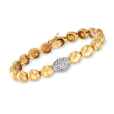 C. 1980 Vintage .65 ct. t.w. Diamond Round-Link Bracelet in 14kt Two-Tone Gold, , default