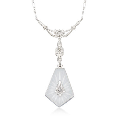 C. 1960 Vintage Rock Crystal Necklace with Diamond Accents in 14kt White Gold, , default