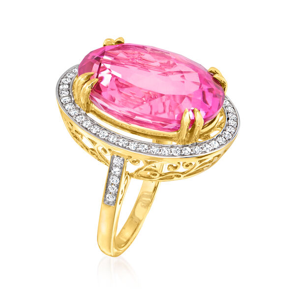 20.00 Carat Pink Topaz and .52 ct. t.w. Diamond Ring in 14kt Yellow Gold. #944569