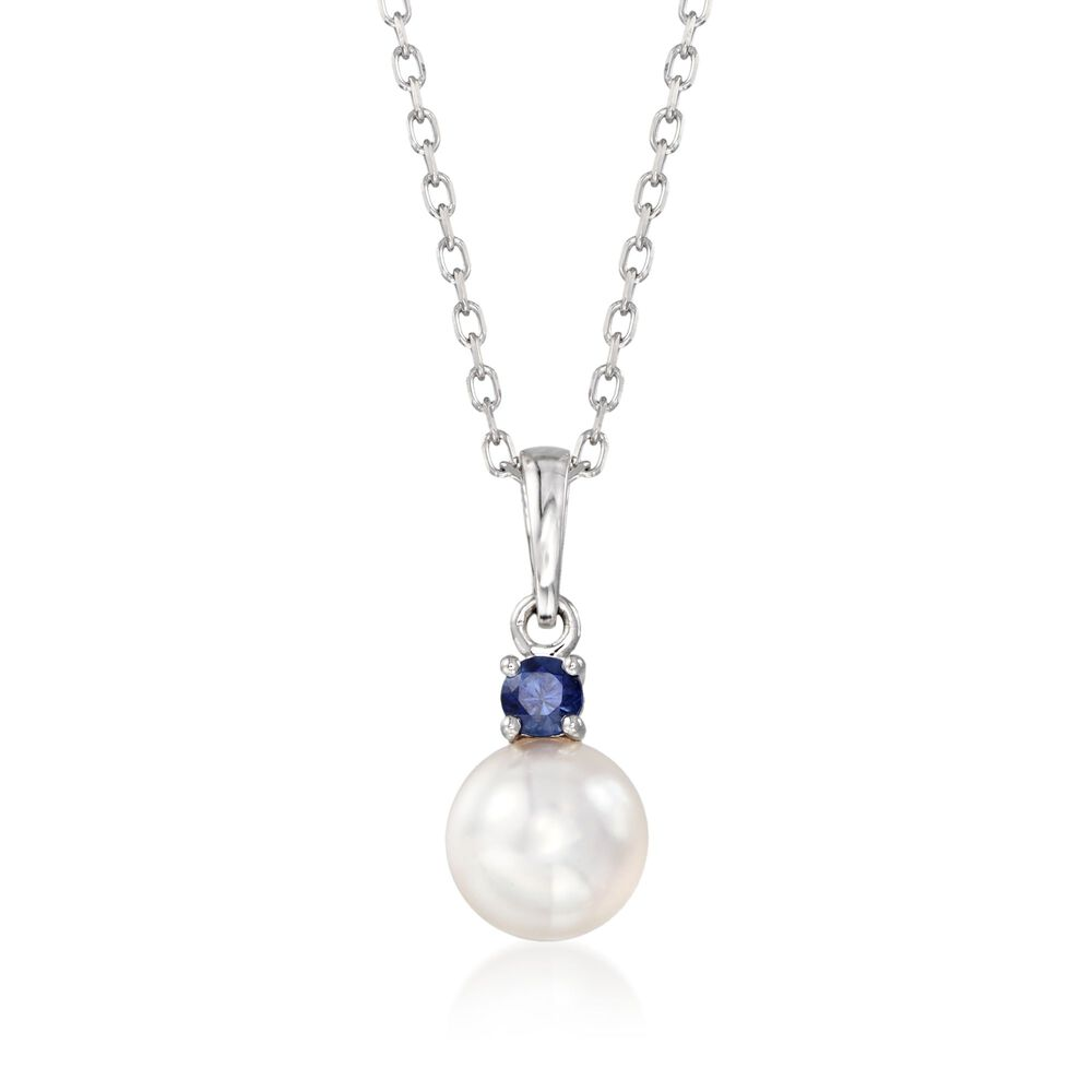 f6203cdb1914d Mikimoto Everyday Essentials 7.5-8mm A+ Akoya Pearl and .13 Carat Sapphire  Necklace in 18-Karat White Gold. 16