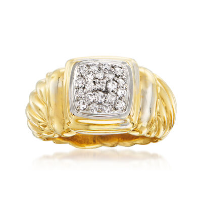 C. 1990 Vintage David Yurman .35 ct. t.w. Diamond Ring in 18kt Yellow Gold and Sterling Silver, , default