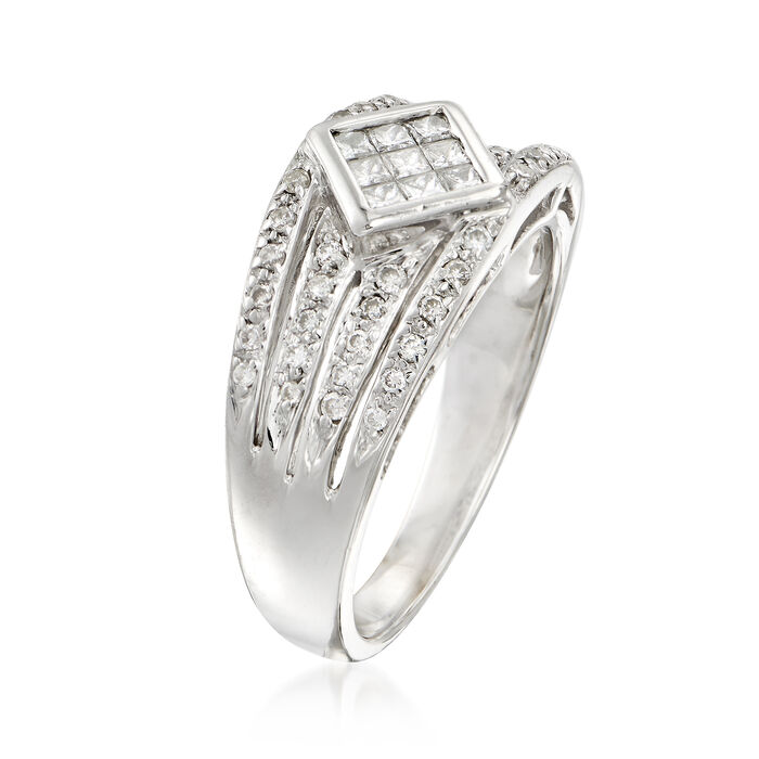 C. 1980 Vintage .65 ct. t.w. Round and Baguette Diamond Band Ring in 14kt White Gold