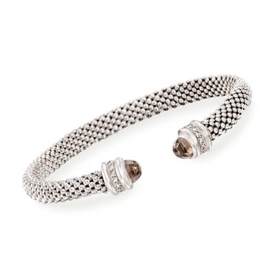 "Phillip Gavriel ""Popcorn"" .40 ct. t.w. Smoky Quartz and .14 ct. t.w. Diamond Cuff Bracelet in Sterling Silver, , default"