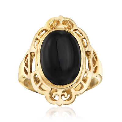 C. 1980 Vintage Black Onyx Oval Ring in 14kt Yellow Gold