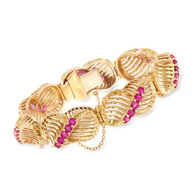 C. 1970 Vintage 5.60 ct. t.w. Ruby Link Bracelet in 14kt Yellow Gold, , default