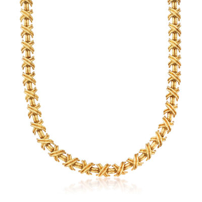 C. 1990 Vintage Tiffany Jewelry X Necklace in 18kt Yellow Gold