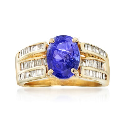 C. 1990 Vintage 3.65 Carat Tanzanite and .70 ct. t.w. Diamond Ring in 14kt Yellow Gold, , default