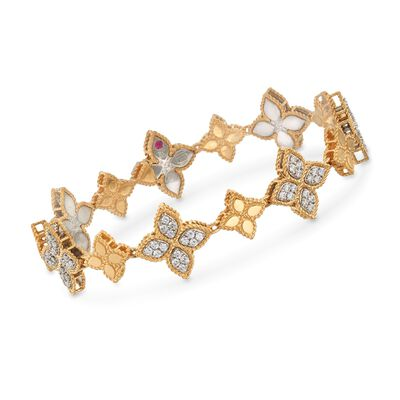 "Roberto Coin ""Princess"" 1.32 ct. t.w. Diamond Flower Bracelet in 18kt Two-Tone Gold"