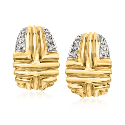 C. 1980 Vintage 1.00 ct. t.w. Diamond Clip-On Earrings in 18kt Yellow Gold