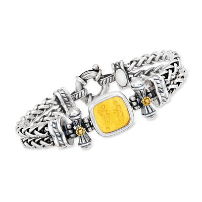C. 2000 Vintage Yellow Murano Glass Intaglio Wheat-Link Bracelet in Sterling Silver and 18kt Yellow Gold