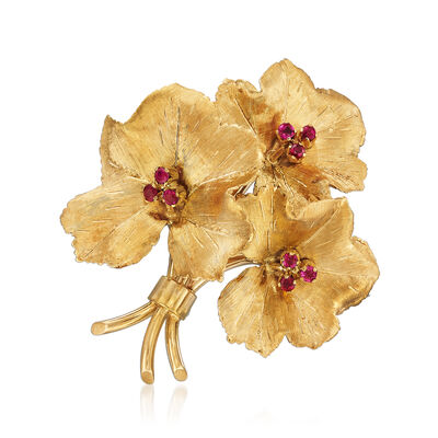 C. 1970 Vintage Tiffany Jewelry .25 ct. t.w. Ruby Flower Pin in 18kt Yellow Gold