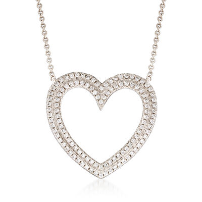 C. 2000 Vintage Tiffany Jewelry .35 ct. t.w. Diamond Heart Necklace in Platinum