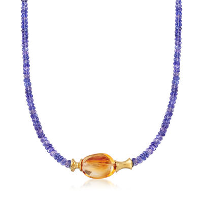C. 1980 Vintage 21.00 Carat Citrine and Simulated Tanzanite Bead Necklace in 14kt Yellow Gold, , default