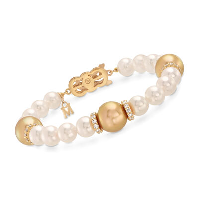 Mikimoto 7-11mm White Akoya and Golden South Sea Pearl Bracelet with 1.20 ct. t.w. Diamonds in 18kt Yellow Gold, , default