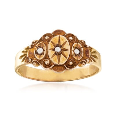 C. 1950 Vintage Cultured Pearl Star Motif Ring in 14kt Yellow Gold, , default