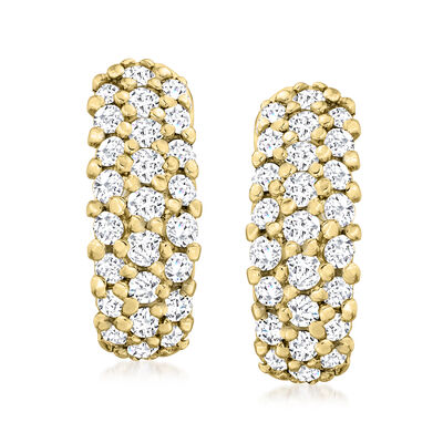 C. 1990 Vintage 3.00 ct. t.w. Diamond Curved Earrings in 14kt Yellow Gold
