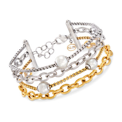 "ALOR ""Chain Reaction"" Cultured Pearl Two-Tone Stainless Steel Carnation-Link Bracelet"