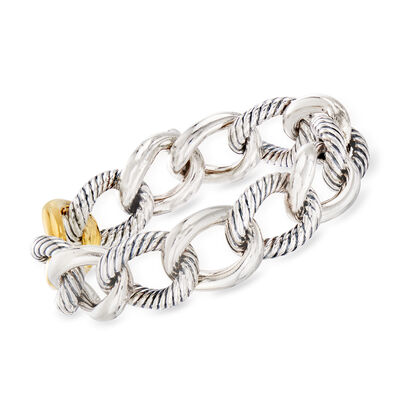 C. 1990 Vintage David Yurman Curb-Link Bracelet in Sterling Silver and 18kt Yellow Gold, , default