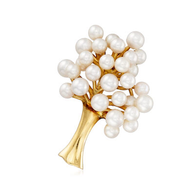 C. 1970 Vintage 3.5-4mm Cultured Pearl Tree Pin in 14kt Yellow Gold, , default