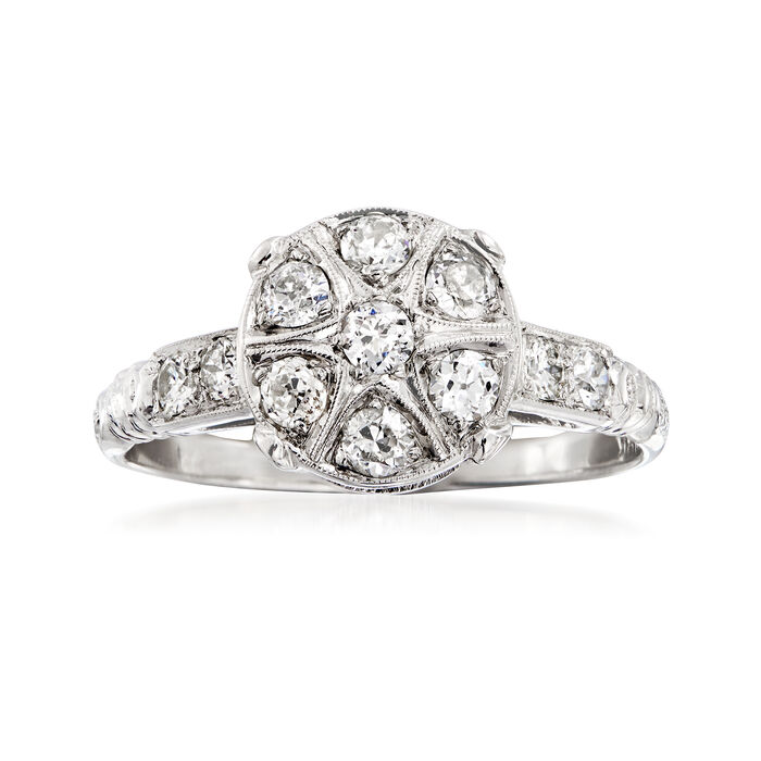 C. 1980 Vintage .55 ct. t.w. Diamond Cluster Ring in 18kt White Gold