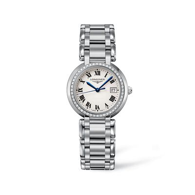 Longines Primaluna Women's 30mm .40 ct. t.w. Diamond Watch in Stainless Steel - Silver Dial