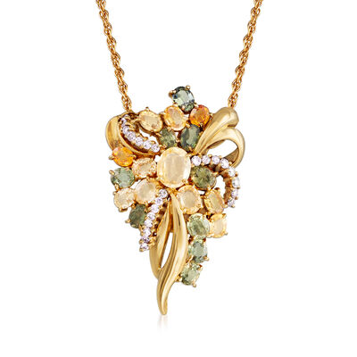 C. 1990 Vintage Christian Bernard 6.63 ct. t.w. Multicolored Sapphire and .38 ct. t.w. Diamond Pendant Necklace in 14kt Yellow Gold, , default