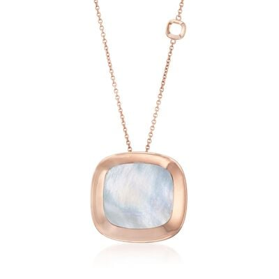 "Roberto Coin ""Carnaby Street"" Mother-Of-Pearl Pendant Necklace in 18kt Rose Gold, , default"