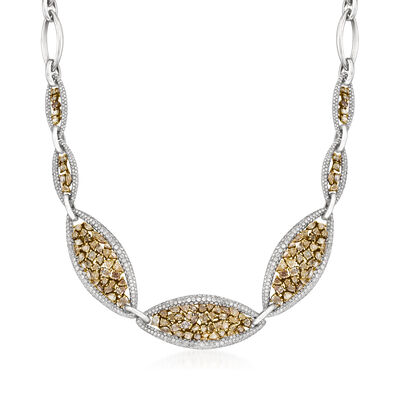 C. 1990 Vintage 19.14 ct. t.w. Multicolored Diamond Cluster Necklace in 14kt White Gold