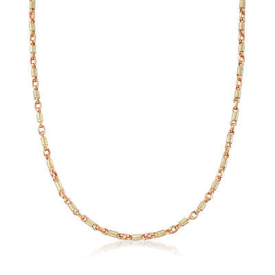 C. 1980 Vintage Spring-Link Necklace in 18kt Two-Tone Gold, , default