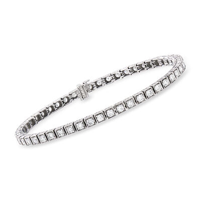 C. 1990 Vintage 3.80 ct. t.w. Diamond Tennis Bracelet in 14kt White Gold, , default