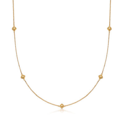 "Roberto Coin ""Palazzo Ducale"" Station Necklace with Diamond Accents in 18kt Yellow Gold, , default"