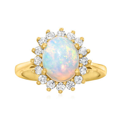 C. 1980 Vintage Opal Ring with .50 ct. t.w. Diamonds in 14kt Yellow Gold