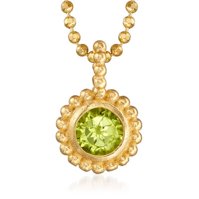 "Phillip Gavriel ""Popcorn"" .20 Carat Peridot Beaded Pendant Necklace in 14kt Yellow Gold"