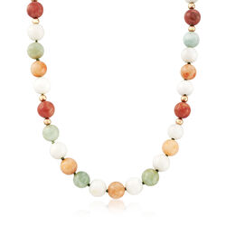 C. 1960 Vintage 7-9mm Multicolored Jade Bead Necklace With 14kt Yellow Gold, , default