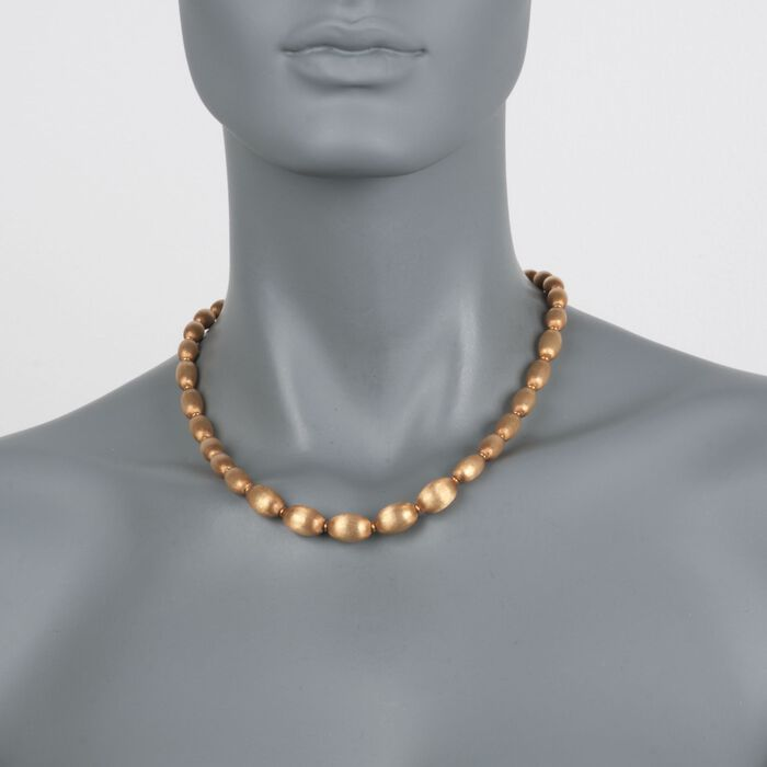 """C. 1960 Vintage 18kt Yellow Gold Textured Oval Bead Necklace. 18"""", , default"""