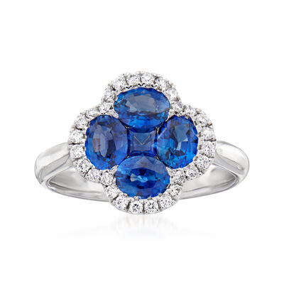 C. 1990 Vintage 1.83 ct. t.w. Sapphire Clover Ring with .22 ct. t.w. Diamonds in 18kt White Gold