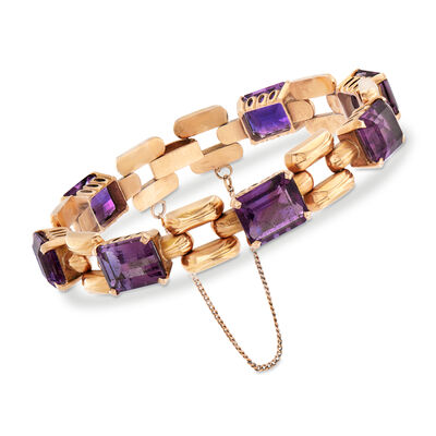 C. 1940 Vintage 35.00 ct. t.w. Amethyst Link Bracelet in 18kt Yellow Gold, , default